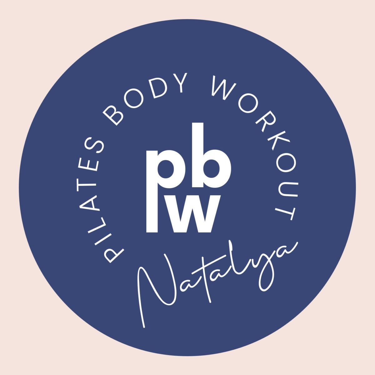 The Pilates Body Workout secondary logo in white on a navy blue circular decal on a pink square background